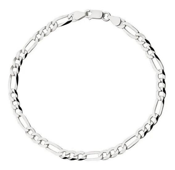 Pulseira De Prata Masculina Fígaro 3x1 Fina (prata 925)