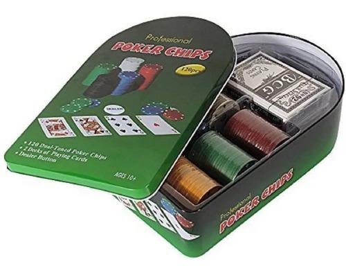 Poker 120 Fichas 2 Juegos De Cartas + Paño Poquer