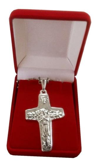Cruz Do Papa Francisco - O Bom Pastor 5cm - Folhada A Prata