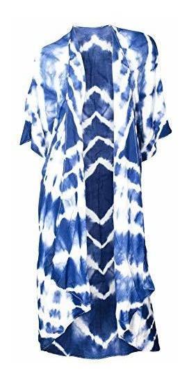 Kimono Teñido Con Flores Azul Y Blanco Talla Unica Se Adapt