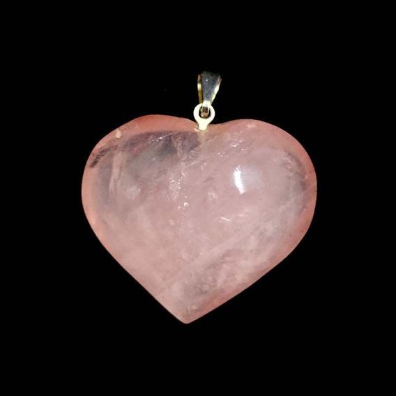 Pingente Prateado Coração Cristal Quartzo Rosa Pedra Natural