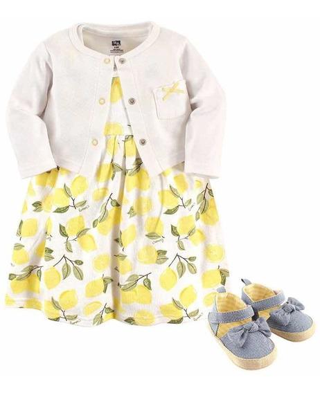 Vestido Para Niña Trae Zapatos Y Cardigan 6/9 Meses