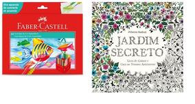 Kit-01 Livro Jardim Secreto+ 01 Est. Faber 60 Cores Aquarela