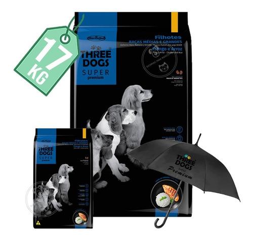 Imagen 1 de 2 de Three Dogs Cachorros Rza Med Y Gde 15 Kg + 2 Kg