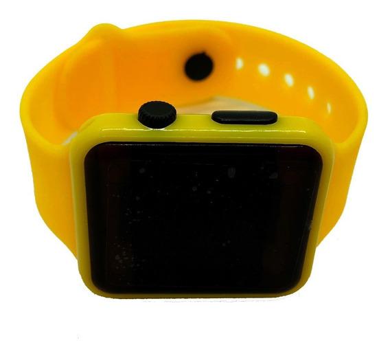 Reloj Led Silicon Tipo Apple Watch Niños Y Adultos Amarillo
