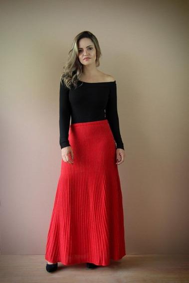 Saia Plissada Color Vermelha-inverno-tricot