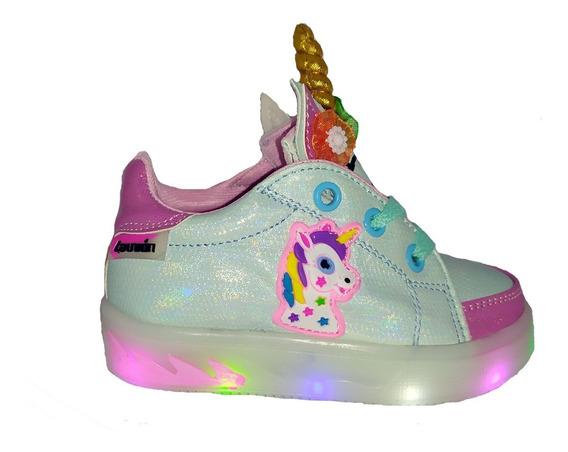 Zapatillas De Nenas Unicornio Luces Led Infantil Urbana A30