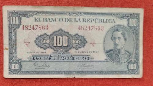 Imagen 1 de 6 de Billete Colombiano Antiguo De 100 Pesos Año 1967 C/u