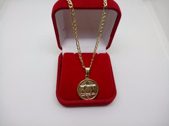 Corrente Masculina 5x1 Com Medalha Estrela De Davi Banhada