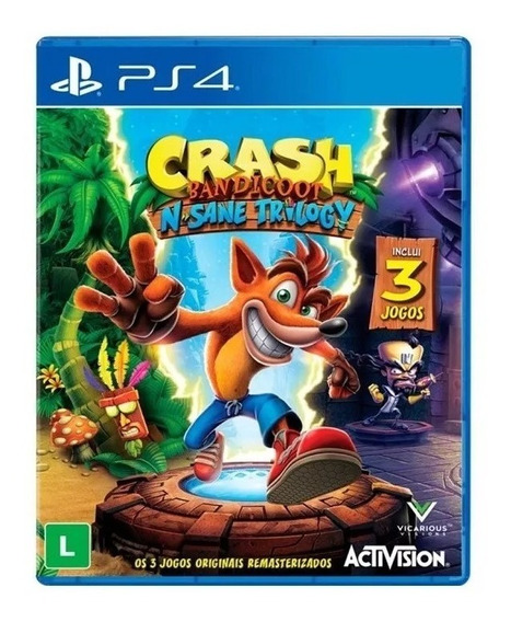 Jogo Crash Bandicoot N Sane Trilogy Mídia Física - Ps4