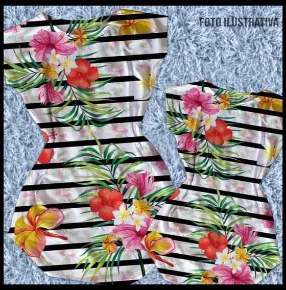 Vestido Mae E Filha Estampa Floral/listras