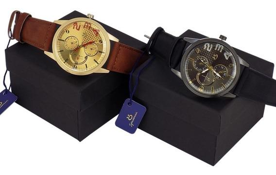 Kit 2 Relógios Masculino Couro Original + Caixa Lindo Barato