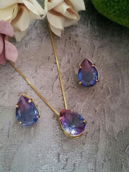 Colar E Brincos Feminino Cristal Bicolor Gota Banhado Ouro