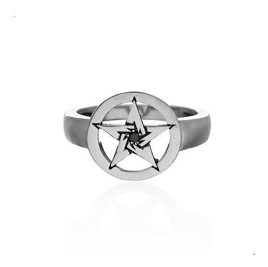 Anel Estrela Pentagrama Zirconia Prata 925 Fp - 11054803