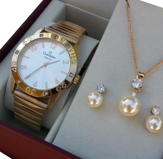 Relógio Champion Feminino Dourado Cn27849w