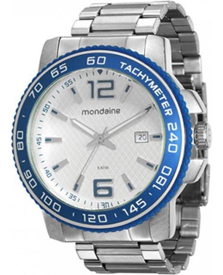 Relógio Masculino Prata E Azul Mondaine 76585g0mgne1 Novo