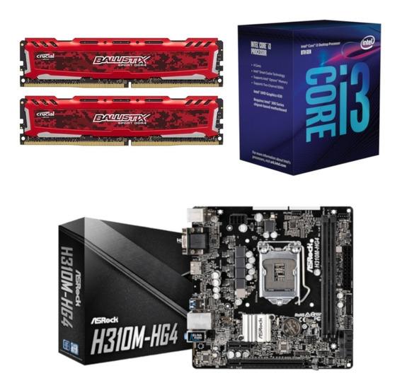 Kit Intel I3 8100 + Asrock H310m Hg4 + Bl 16gb 2400