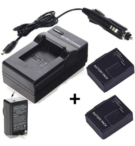 2 Baterias + Um Carregador P/ Filmadora Gopro Hero3 Hero3+