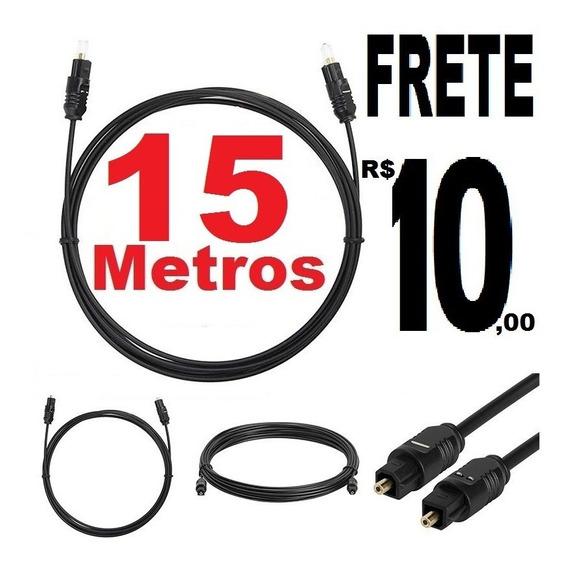 Cabo De Áudio Óptico Digital 15 Metros Toslink Plug Gold