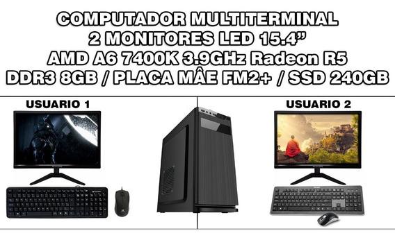 Pc Multiterminal A6 7400k 3.9ghz 8gb Ssd 240gb 2 Monitores