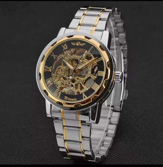 Relógio Masculino Winner+brind Automático Barato Luxo C.122