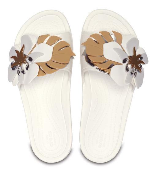 Sandalia Dama Crocs Slide Botanical Flores Beige