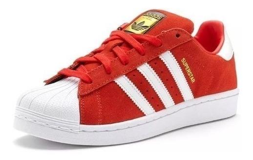 Tênis adidas Superstar Vermelho De Camurça Em Oferta 40% Off