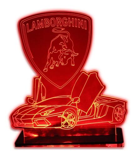 Imagem 1 de 8 de Lamborghini - Luminária 3d Carro Esporte (decoração)