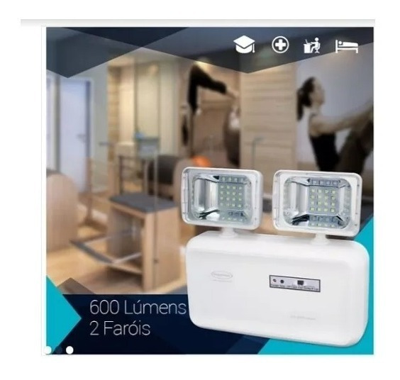 Iluminação De Emergencia 600 Lumens 2 Farois C/ Bateria Sela