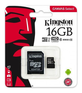 Memoria Microsd Kingston 16gb Clase 10 80mbs Micro Sd