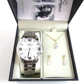 Relógio Champion Feminino Cn29893c + Kit Presente 3 Peças