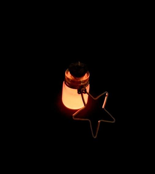 Dije Botellita Brilla De Noche Baño De Oro