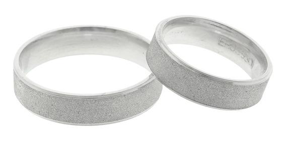 Par De Aliança Prata 950 Diamantada Dois Friso Liso 5mm