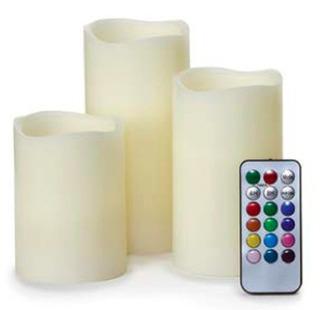 Set De 3 Velas Cera Luz Colores Ambiente Control Remoto
