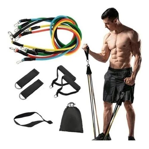 Imagem 1 de 5 de Kit Elástico Extensor 11 Peças Treinamento Pilates Fitness