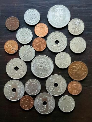 Ch C / Dinamarca X 21 Monedas Diferentes Años Y Valores Lote