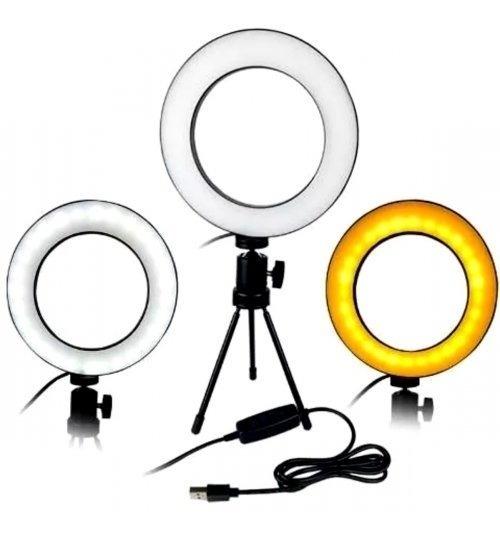 Iluminador Ring Light 16cm Usb Led Misto + Tripe 1,60m