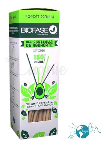 Caja 150 Popotes Biodegradables Biofase Semilla De Aguacate