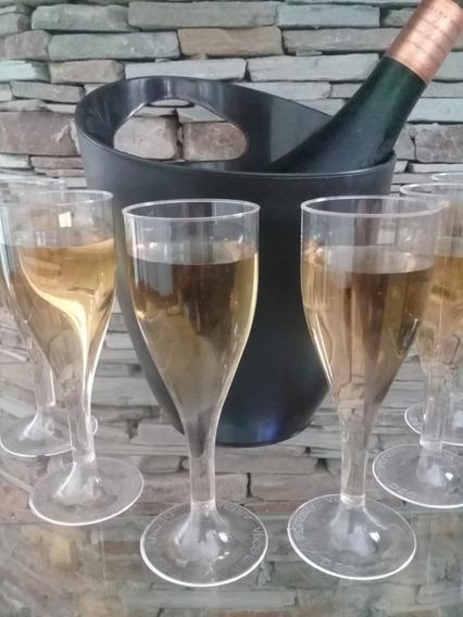 Copa Champagne Cristal Plástica Florencia Fiesta X 64 U.