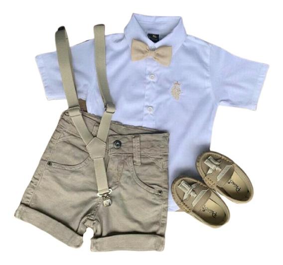 Conjunto Infantil Camisa Social Bermuda Masculina Batizado Casamento Com Sapato