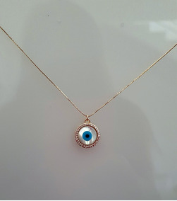 Colar Olho Grego, Cravejado Em Zircônia Semijóia Dourado