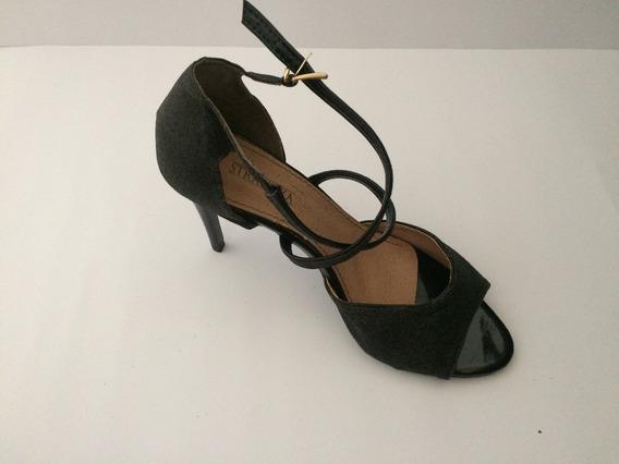 Sandalha Social Preta Gliter