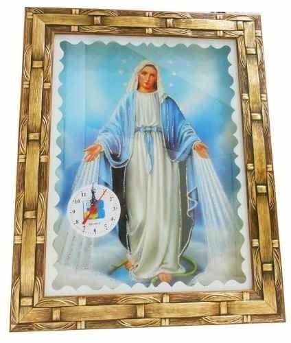 Quadro Com Relógio Nossa Senhora Das Graças 30x40cm