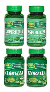 Kit 2 Clorella Microalgas + 2 Espirulife Spirulina 60 Caps