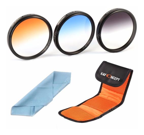 52mm Kit 3 Filtros Coloridos Color Canon E Nikon Em Hd