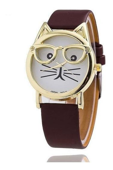Relógio Pulseira De Couro Com Pedra Vintage Feminino