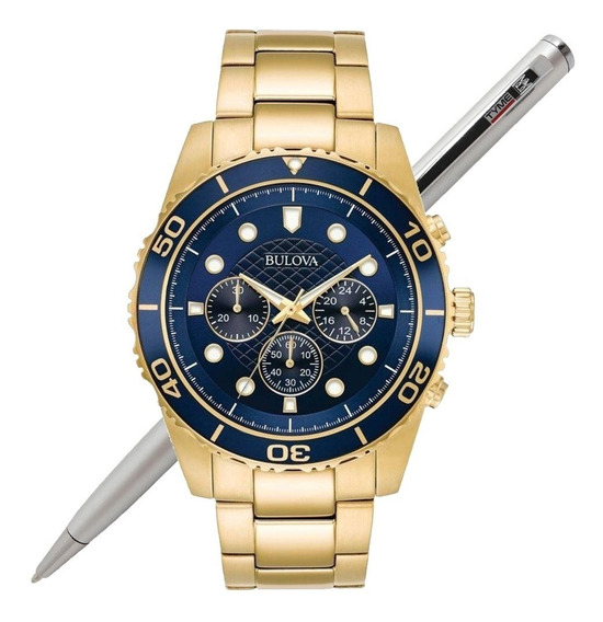 Relógio Bulova Masculino Dourado Cronógrafo Wb31989z C/ Nfe