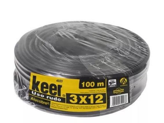 Cable Electrico De Uso Rudo 3x12 Rollo 100 Mts Negro