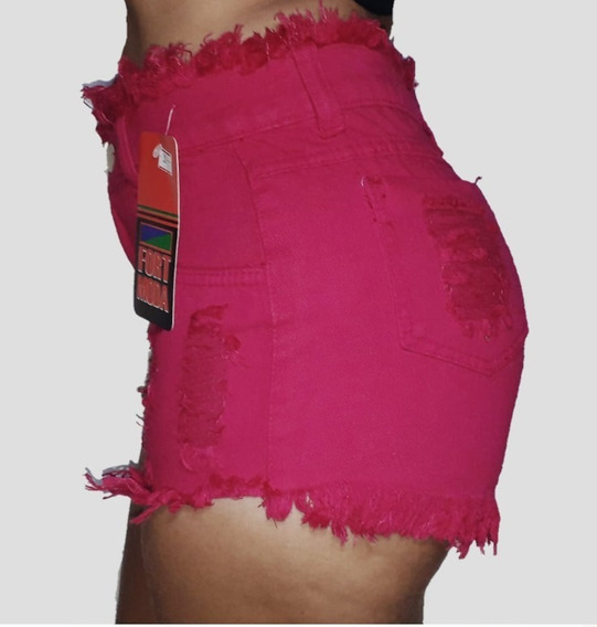 Short Jeans Feminino Cintura Alta Hot Pant Kit C/ 5 Peças