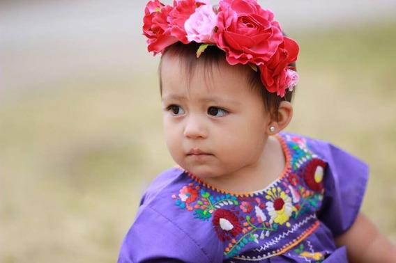 Vestido Tehuacán Kids - Bordados Mexicanos